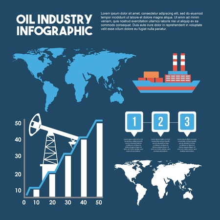 Oil industry info-graphic transport logistics map statistics vector illustration