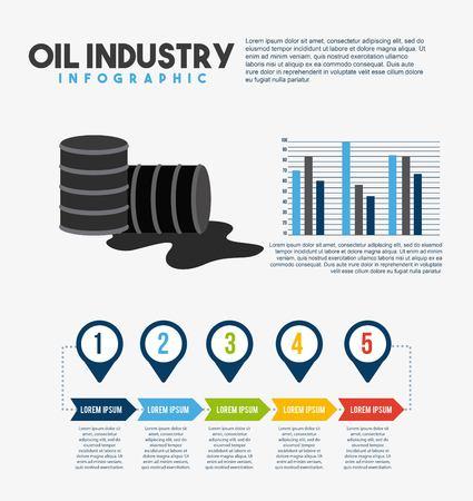 Oil industry info-graphic barrel petroleum diagram bar and steps business vector illustration