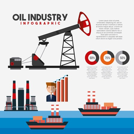 Oil industry info-graphic transport logistics extraction worker diagram vector illustration