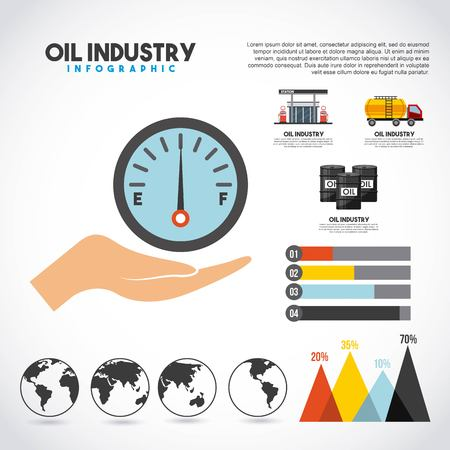 Oil industry info-graphic transport station production graphs world vector illustration  イラスト・ベクター素材