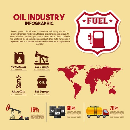 oil industry infographic fuel percent production commerce vector illustration