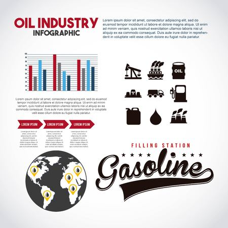 oil industry infographic filling station gasoline statistics vector illustration Illustration