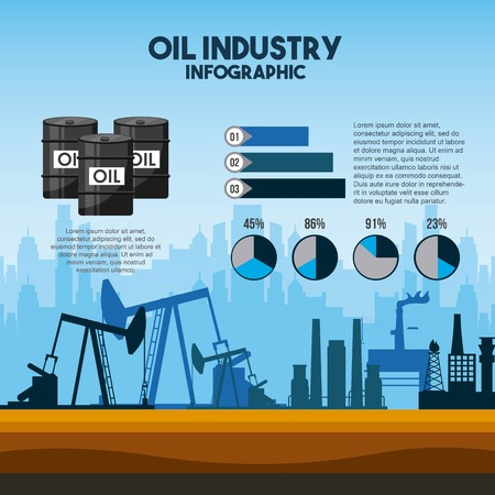 Oil industry info-graphic pump extraction diagrams. Vector illustration.