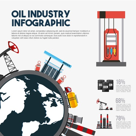 Oil industry info-graphic world map station gasoline production. Vector illustration.