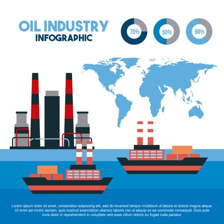 Oil industry info-graphic transport logistics maritime cargo. Vector illustration.
