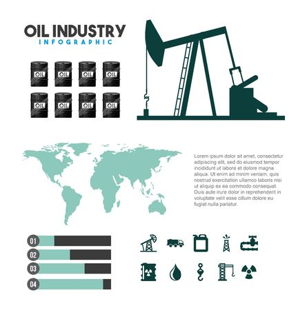 Oil industry info-graphic extraction process production diagram with map global. Vector illustration. Illustration