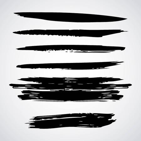 水平インク ブラシ ストローク ストライプ ベクトル イラストレーション