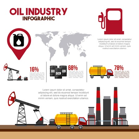 oil industry infographic with extraction and consumption statistics products diagram vector illustration Ilustração