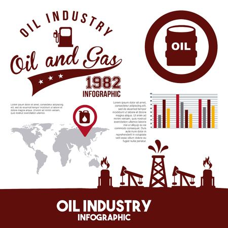 Oil industry infographic gas pump map information retro vector illustration Illustration
