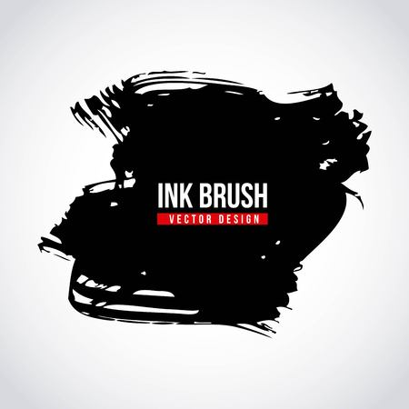 Ink brush grunge paint element smear stain texture vector illustration. Illustration
