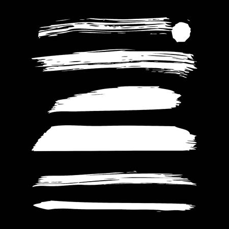 Set of artistic white paint hand made creative ink brush strokes. Isolated on black background vector illustration.