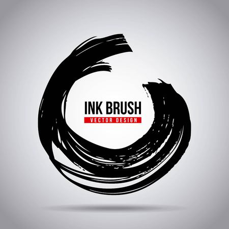 Ink brush grunge paint element smear stain texture vector illustration. Çizim