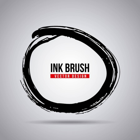 Ink brush grunge paint element smear stain texture. Vector illustration.
