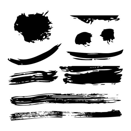 Ink brush stroke different grunge art texture. Dirty creative element paintbrush vector illustration.