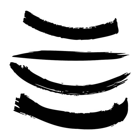 Set of artistic black paint hand made creative ink brush strokes. Isolated on white background vector illustration.