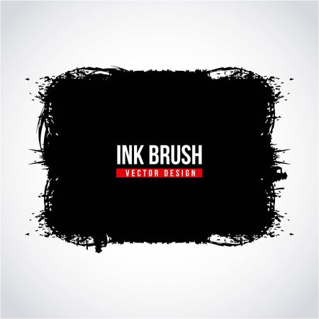 Ink brush grunge paint element smear stain texture vector illustration Illustration