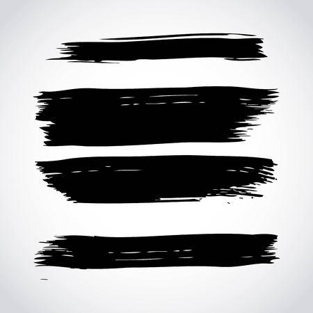 set of artistic black paint hand made creative ink brush strokes isolated on white background vector illustration Ilustração