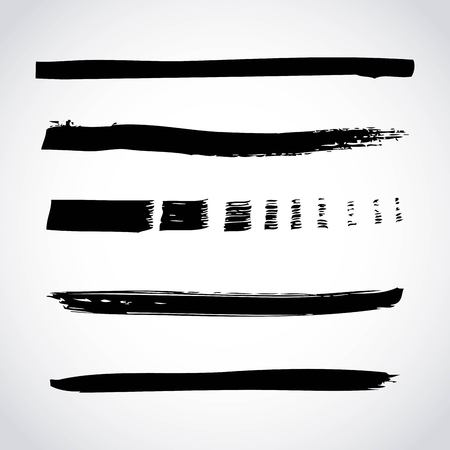 set of artistic black paint hand made creative ink brush strokes isolated on white background vector illustration 向量圖像