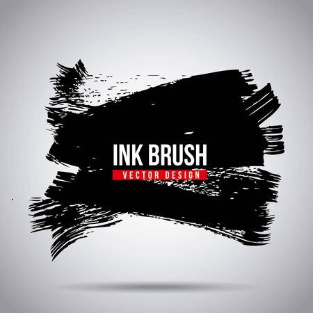 Ink brush grunge paint element smear stain texture vector illustration Illustration