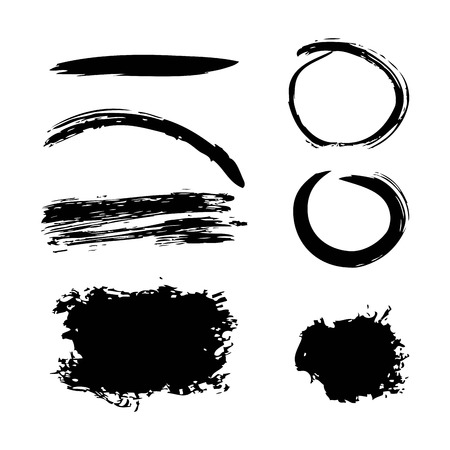 Ink brush stroke different grunge art texture dirty creative element paintbrush vector illustration
