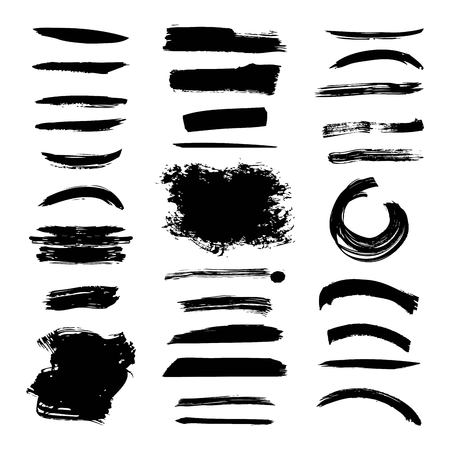 Ink brush stroke different grunge art texture. Dirty creative element paintbrush vector illustration.
