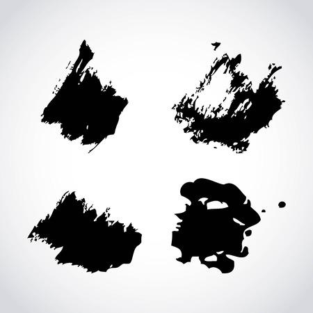 Ink brush stroke different grunge art texture dirty creative element paintbrush vector illustration