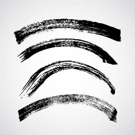 Conjunto de pintura negra artística hecha a mano con pinceladas de tinta creativa. Aislado en el ejemplo blanco del vector del fondo. Foto de archivo - 93614026
