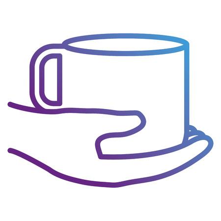 커피 컵 벡터 일러스트 레이 션 디자인을 손으로.