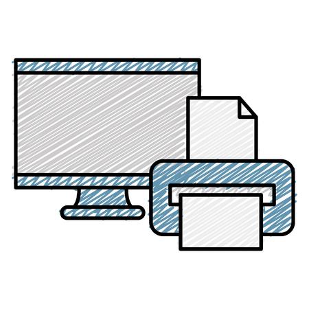 monitor computer with printer vector illustration design