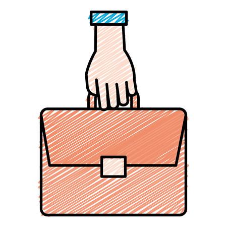 hand with portfolio briefcase vector illustration design