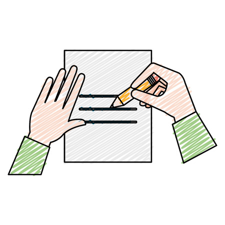Paper document with hand written vector illustration design.