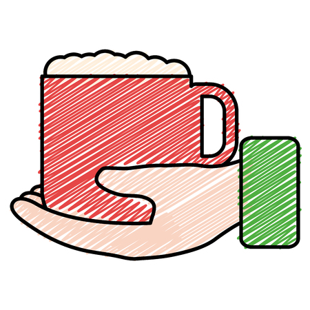 Hand with coffee cup vector illustration design