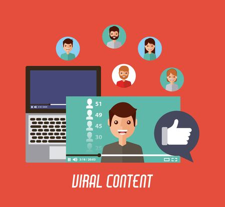 viral content mobile video like love comment vector illustration