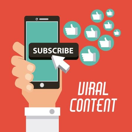 viral content hand with mobile subscribe likes vector illustration 向量圖像