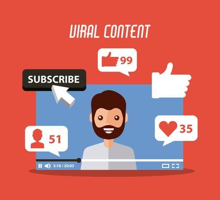 virale inhoud baard man in video abonneren zoals volgen commentaar vector illustratie Stock Illustratie