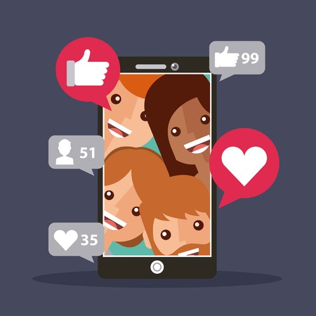 mobile phone followers view likes content vector illustration