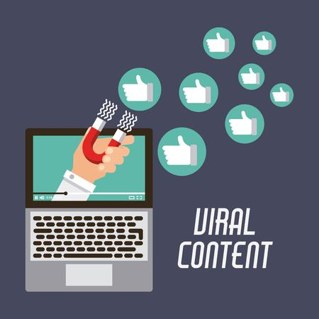 marketing viral content attraction campaign vector illustration