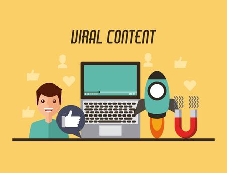 viral content video people start likes concept vector illustration  イラスト・ベクター素材