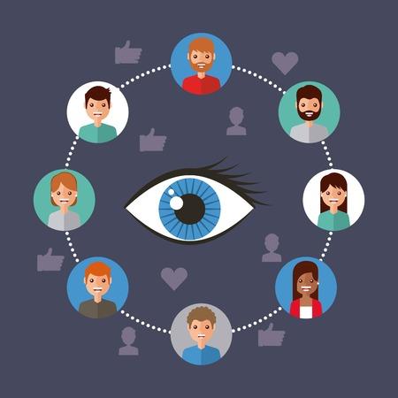 oog weergave virale inhoud mensen verbinding vector illustratie