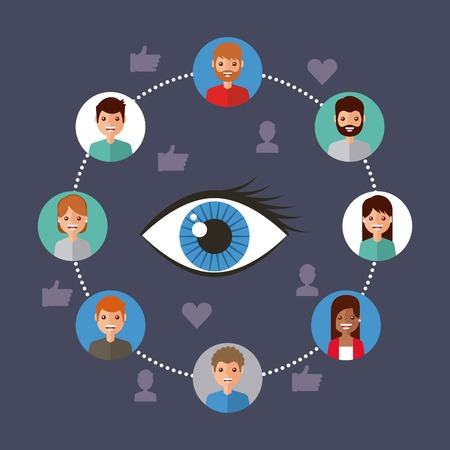 eye view viral content people connection vector illustration