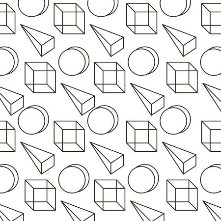 memphis style pattern 3d geometric triangle cube and circle vector illustration