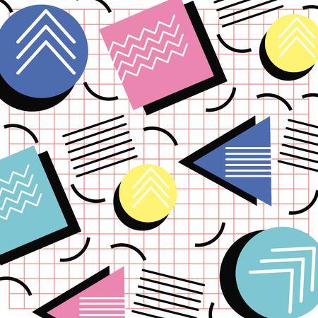 Memphis stijl patroon driehoek cirkel en vierkante raster ontwerp vectorillustratie Stock Illustratie