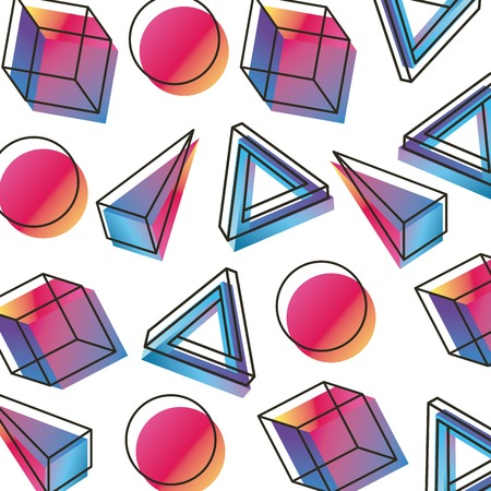 memphis style pattern geometric figures three dimensional vector illustration
