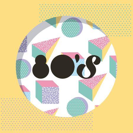 round 80 memphis style pattern circle triangle design vector illustration Illustration