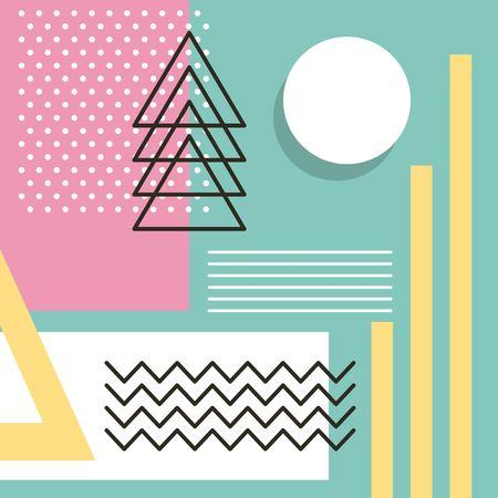 modello di stile di Memphis che ripete l'illustrazione geometrica di vettore di colore pastello di forma