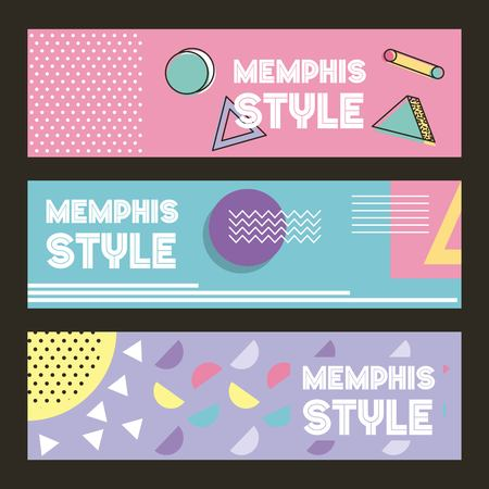 memphis style pattern banner horizontal geometric color pastel image vector illustration