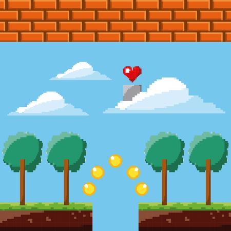 pixel game heart sky coins trees brick wall vector illustration