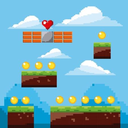 pixel game arcade wereld gouden munten landschap vectorillustratie Stock Illustratie
