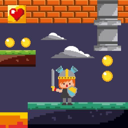 pixel game knight coins level night landscape vector illustration
