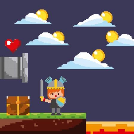 pixel game scene warrior coins life clouds treasure vector illustration